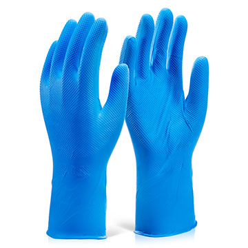 Nitrile Disposable Diamond Grip Glove 30cm Blue
