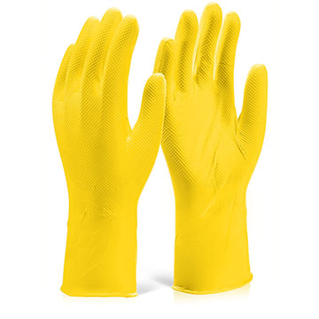 Nitrile Disposable Diamond Grip Glove 30cm Yellow