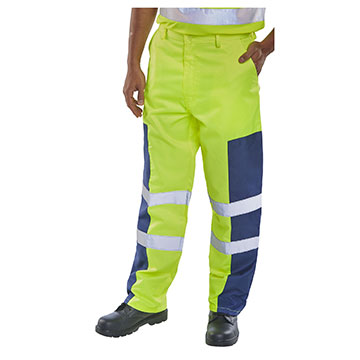 Hi Vis Trousers with Nylon Patch